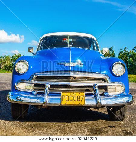 Classic American blue car in Havana, Cuba