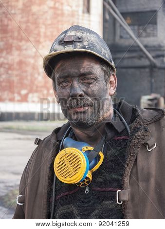 Makeevka, Ukraine - October 30, 2012: Miner Mine Yasinovskaya-glubokaya After Work Shift