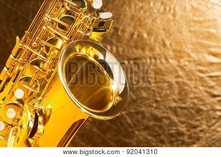 Close-up view of alto saxophone bell and keys