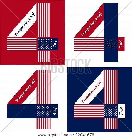 Independence Day card or background. July 4.  New American Flag with stars and USA.