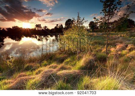 Beautiful Sunset Over Wild Lake