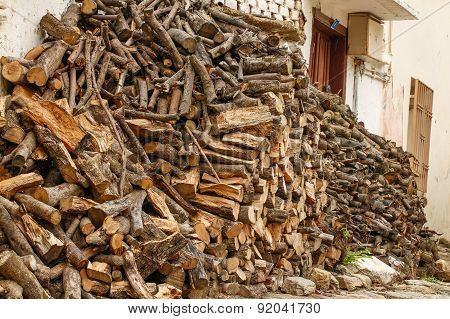 Firewood stacked.