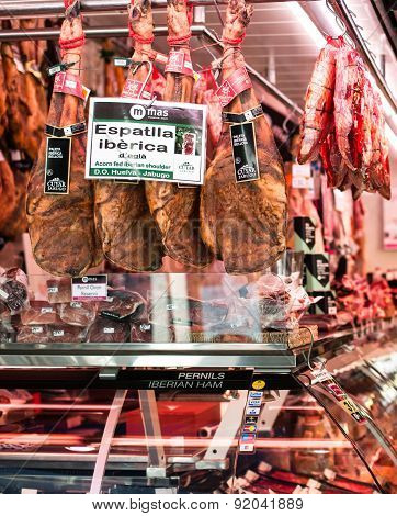 Barcelona, Spain - May 12, 2015: Meat Shop With Iberian Ham At Bokeria Food Market