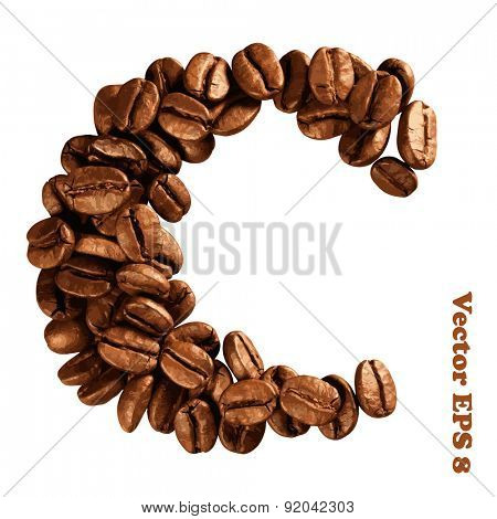 Coffee alphabet letter, vector illustration EPS 8.