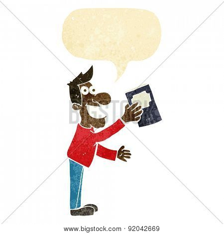 cartoon man with book with speech bubble