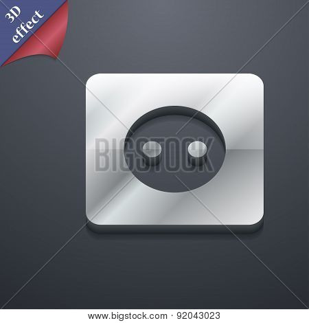Electric Plug, Power Energy Icon Symbol. 3D Style. Trendy, Modern Design With Space For Your Text Ve