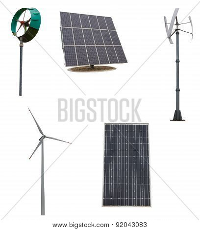 Small wind turbines and solar panel. Isolated on white background