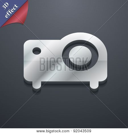 Projector Icon Symbol. 3D Style. Trendy, Modern Design With Space For Your Text Vector