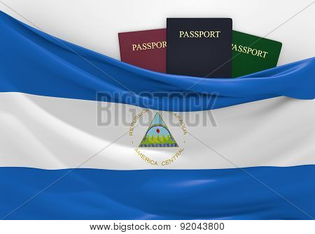Travel and tourism in Nicaragua, with assorted passports
