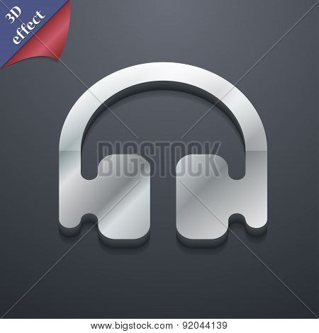 Headphones, Earphones Icon Symbol. 3D Style. Trendy, Modern Design With Space For Your Text Vector