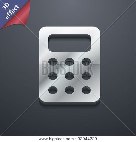 Calculator, Bookkeeping Icon Symbol. 3D Style. Trendy, Modern Design With Space For Your Text Vector