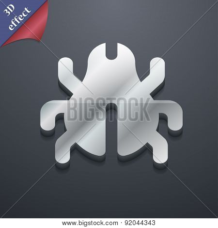Software Bug, Virus, Disinfection, Beetle Icon Symbol. 3D Style. Trendy, Modern Design With Space Fo