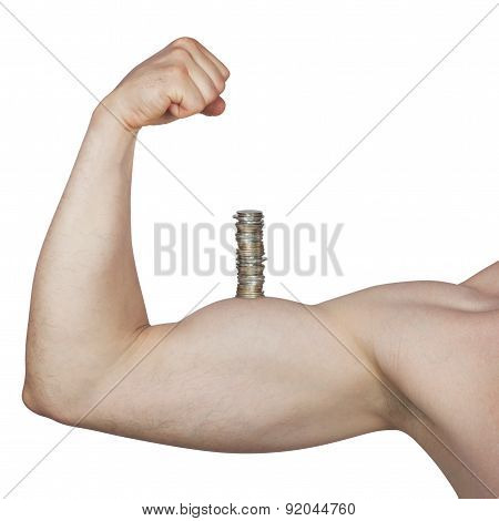 stack of coins on muscular arm