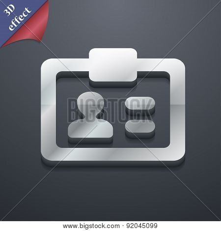 Id,  Identity Card Icon Symbol. 3D Style. Trendy, Modern Design With Space For Your Text Vector
