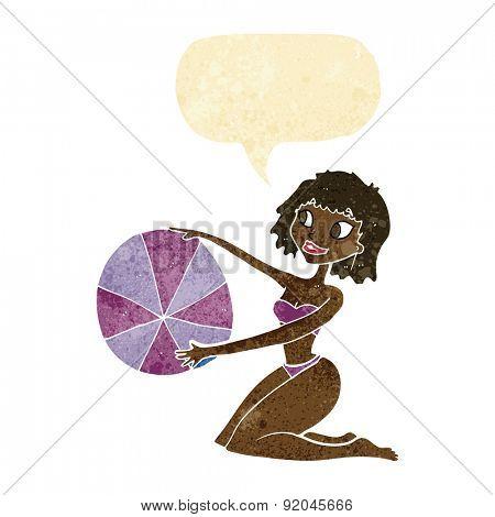 cartoon bikini girl with beach ball with speech bubble