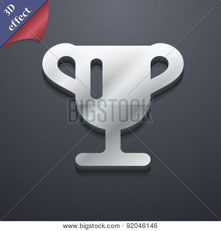 Winner Cup, Awarding Of Winners, Trophy Icon Symbol. 3D Style. Trendy, Modern Design With Space For