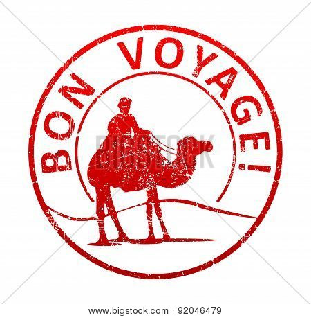 Bon Voyage - Rubber Stamp With The Silhouette Of A Camel In The Desert, And The Cameleer. Grunge Sty