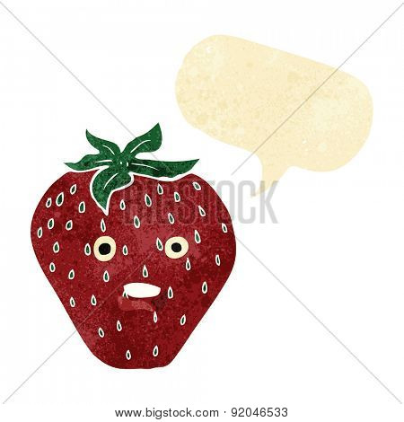 cartoon strawberry with speech bubble