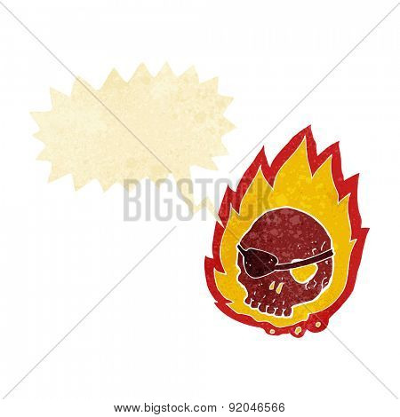 cartoon burning skull with speech bubble