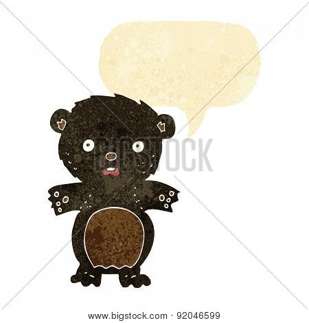 frightened black bear cartoon with speech bubble