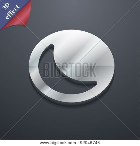 Moon Icon Symbol. 3D Style. Trendy, Modern Design With Space For Your Text Vector