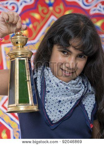 Happy Girl With Lantern Celebrating Ramadan