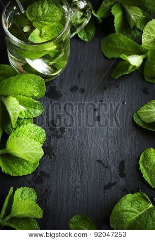 Mint Tea And Mint Leaves Over Black Background With Lot Of Copy Space