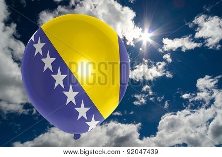 Balloon With Flag Of Bosnia Herzegovina On Sky