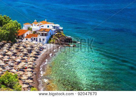 beautiful beaches of Greece-Vlychos on Hydra island