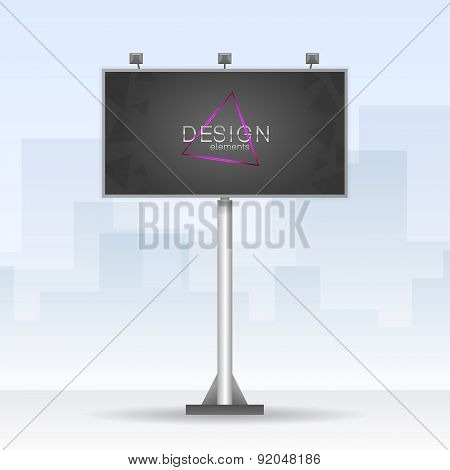 Outdoor billboard with neon triangle element