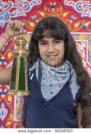 Happy Young Girl With Lantern Celebrating Ramadan