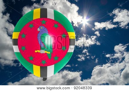 Balloon With Flag Of Dominica On Sky