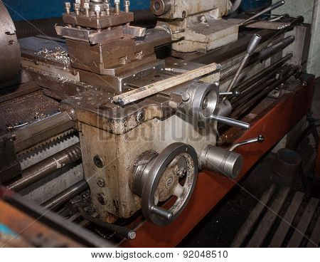 Details And Mechanisms Of The Lathe Closeup.