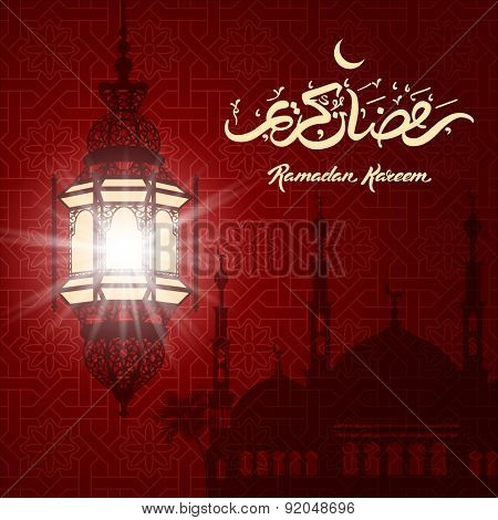 Ramadan Kareem greeting with beautiful illuminated arabic lamp and hand drawn calligraphy lettering on night cityscape background. Vector illustration.