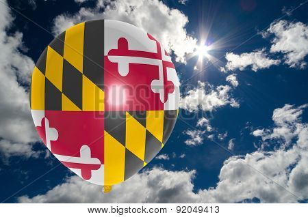 Balloon With Flag Of Maryland On Sky