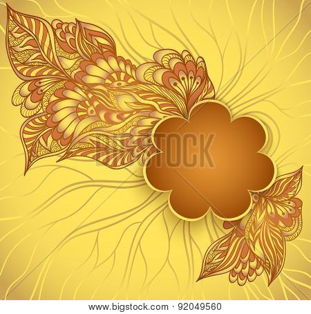 Flowers frame with doodle flowers in gold