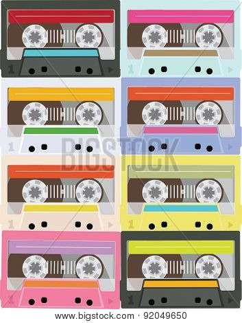 Colored Tapes  Background. Vector illustration. Flat Style