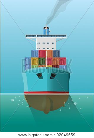 Container ship in the sea. Front view. Flat style vector Illustration.