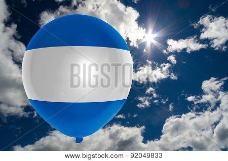 Balloon With Flag Of Nicaragua On Sky