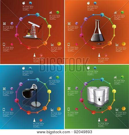 Oil and gas industry infographic set of illustrations