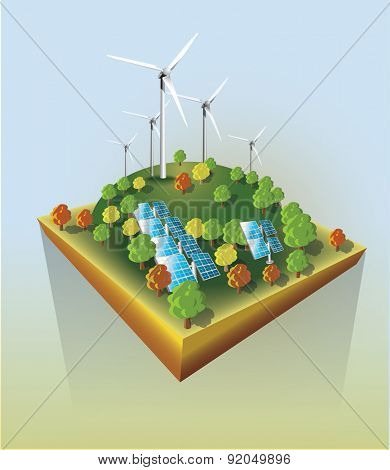 Wind power and sun energy  plants. Vector illustration.