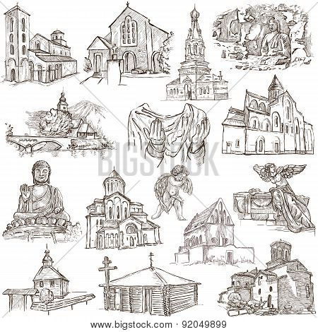 Places Of Worship - Freehand Sketches On Paper