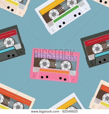 Colored Tapes Seamless Background. Vector illustration. Flat Style