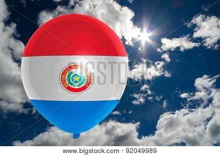 Balloon With Flag Of Paraguay On Sky