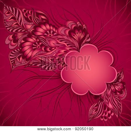 Flowers frame with doodle flowers in red