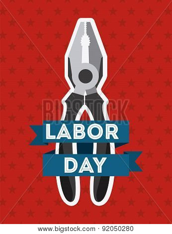 Labor day design over red background vector illustration