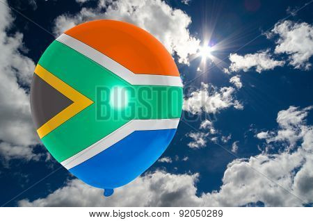 Balloon With Flag Of South Africa On Sky