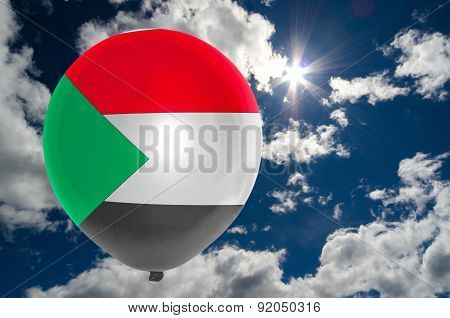 Balloon With Flag Of Sudan On Sky