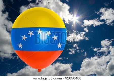 Balloon With Flag Of Venezuela On Sky