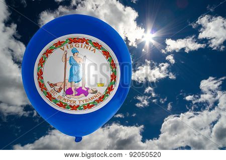 Balloon With Flag Of Virginia On Sky